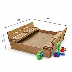 Детская песочница с крышкой 100 х 100 см