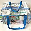 Набор из 4+1 прозрачных сумок в роддом Mommy Bag - S,M,L,XL - Синие, фото 8