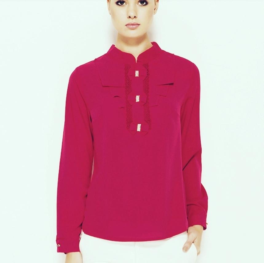Рожева жіноча блузка MA&GI з жабо