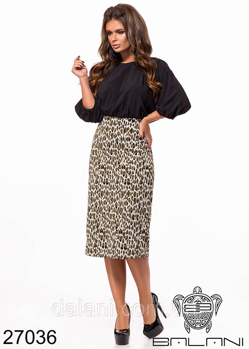 17d29bb7bde Женское платье средней длины бежевое леопардовое - Dalani в Мариуполе