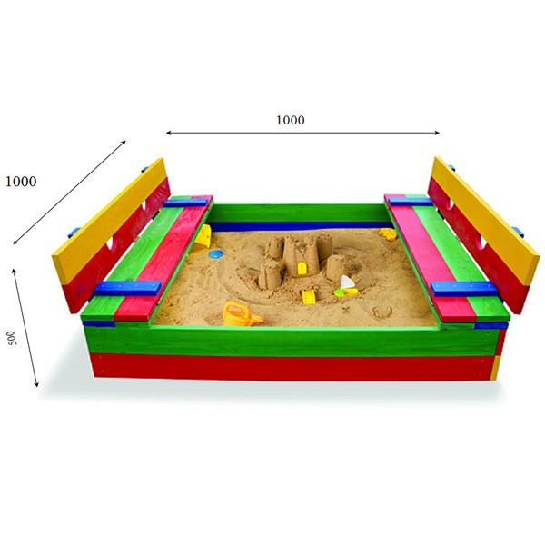Дитяча пісочниця з лавочками і кришкою 100 х 100 см