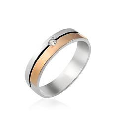 Обручальные серебряные кольца с пластинами золота