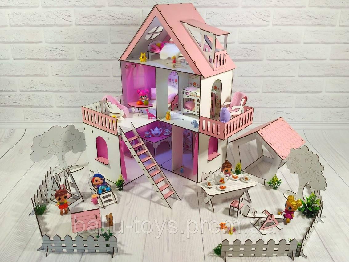 Игрушечный домик для кукол Солнечная дача с мебелью