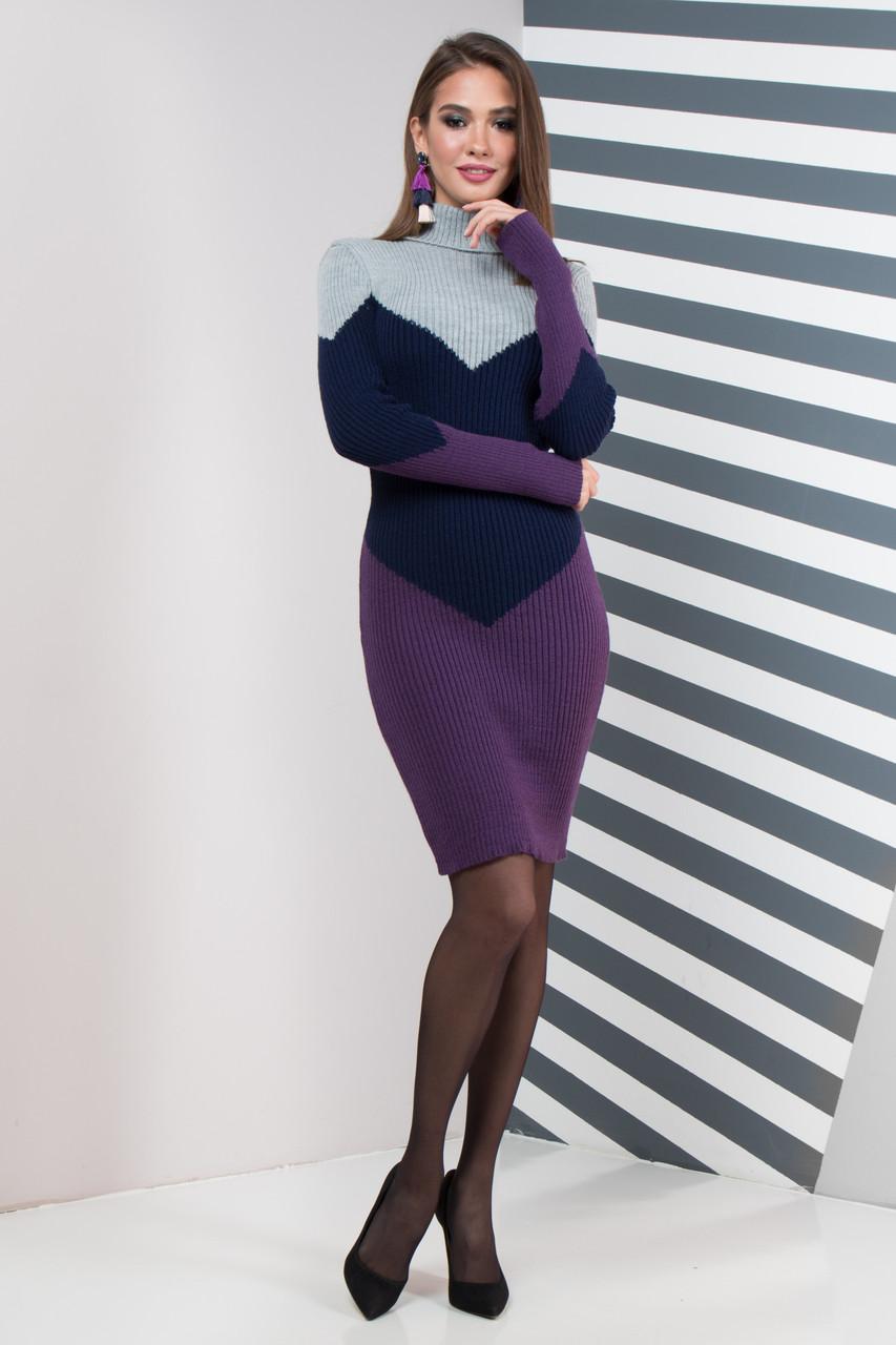 Теплое повседневное вязаное платье 42-48 размер