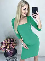 Демисезонное платье до колен по фигуре с квадратным декольте марсала, фото 2