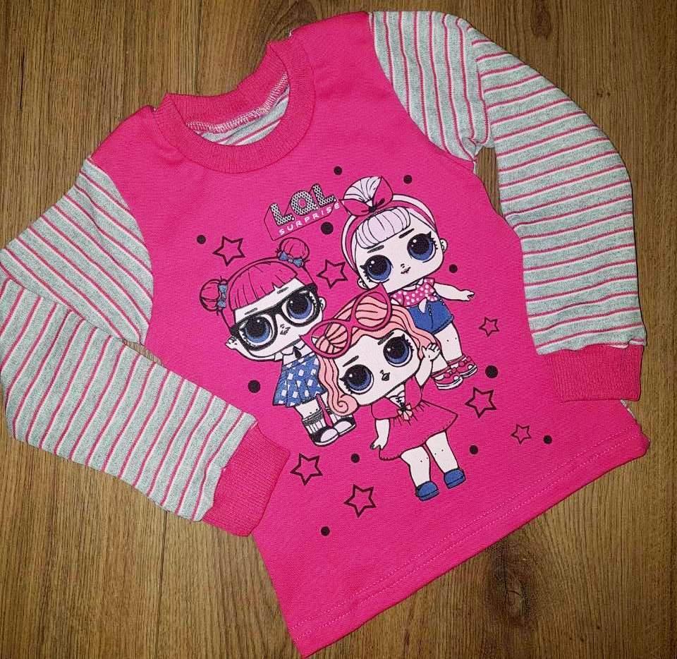 Трикотажный свитшот для девочки розового цвета с принтом Лол 92-122 р