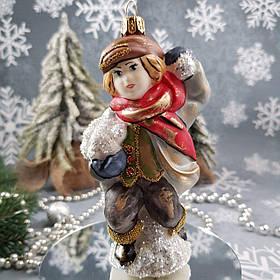 Стеклянная елочная игрушка Мальчик со снежками Irena Винтаж