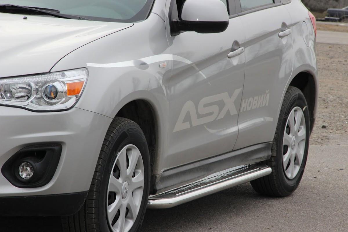 Бічні підніжки Premium на авто Mitsubishi ASX 2010-2016+ (пара, нерж.)