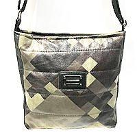 Стеганные сумки на плечо (черно-серый узор)23*24см