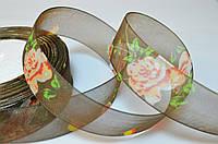 Лента из органзы с розами, 2.5 см, коричневая, метр