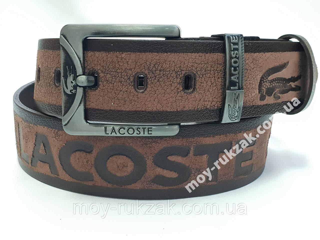 Ремень мужской кожаный Lacoste 45 мм., реплика арт.930682