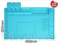 Силиконовый коврик 45х30 см для пайки мобильных телефонов Настольный Силіконовий килимок Мат S-160 Большой