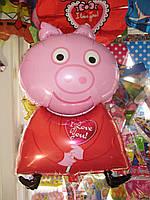 Шар фигура Пеппа с сердечком,наполненный гелием