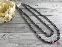 Бусы на шею 60 см чешское стекло цвет серый металлик