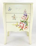 Комод с 3 ящиками и ручной росписью цветами и бабочками купить в Харькове.