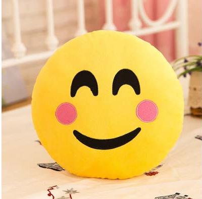 Декоративные подушки Смайл с розовыми щечками Emoji 33 см. Подушка смайлик