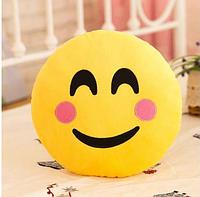 Декоративные подушки Смайл с розовыми щечками Emoji 33 см. Подушка смайлик, фото 1