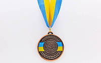 Медаль спортивна зі стрічкою UKRAINE d-5см C-6865 (метал, d-5см, 20g, 3-бронза)