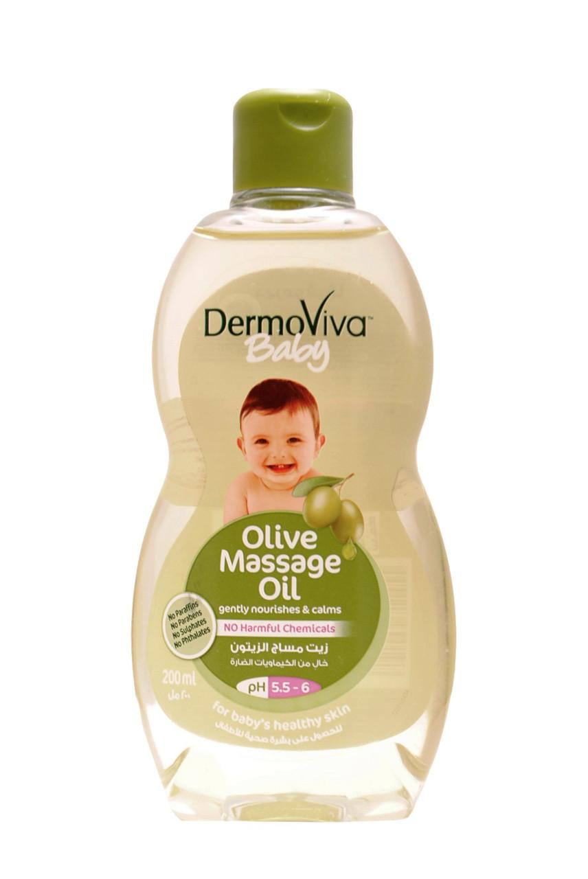 DermoViva Baby Olive Massage Oil. 200 ml. Dabur. Масло массажное с оливковым маслом, детское.(СРОК ДО  2018)