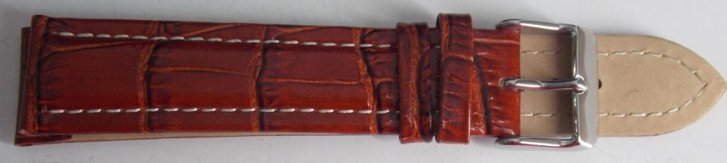 Ремешок кожаный BROS (ИТАЛИЯ) коричневый рель бел.строчка 20 мм