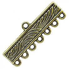 Коннектор Прямоугольный Металл, 8 отверстий, Цвет: Античное Золото, Размер: 11х28х1мм, Отверстие 1мм, (УТ0005691)