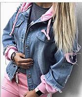 Женская джинсовка с капюшоном