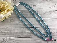 Чешское стекло бусы 60 см украшение на шею голубые