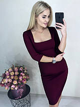 Стильное платье футляр до колен рукав три четверти электрик, фото 2