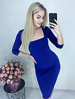 ed803517f62b086 Оригинальное платье средней длины приталенное декольте рукав три четверти  электрик