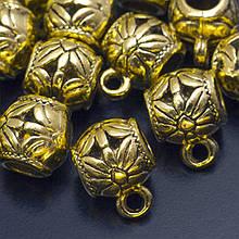 Бейл Тибетского Стиля, с Цветком, Металл, Цвет: Античное Золото, Размер: 13х9.5х9.5мм, Отверстие 2мм и 4.5мм, (УТ0019167)