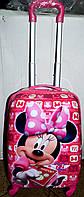Детский дорожный розовый чемодан на четыре колеса Маус