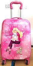 Детский дорожный розовый чемодан на четыре колеса (Барби)