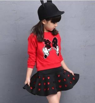 Нарядный костюм детский на девочку с юбкой МиККи красно-черный 7-8 лет, фото 2