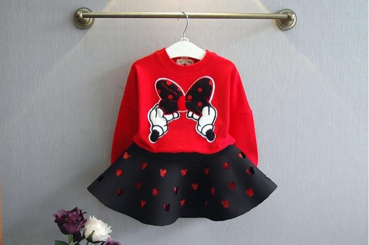 Нарядный костюм детский на девочку с юбкой МиККи красно-черный 7-8 лет