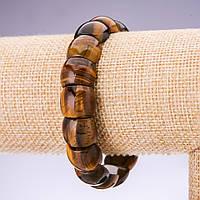 Браслет из натурального камня Тигровый глаз звено 15х12мм на резинке обхват 20см
