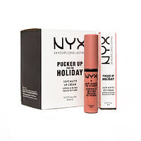Жидкая помада для губ NYX Pucker Up for the Holiday Soft Matte Lip Cream 12 в 1, фото 1