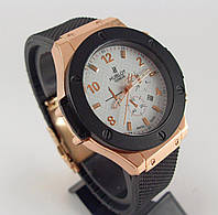 Часы мужские наручные Hublot Geneve 6289 черные с бронзой белый циферблат