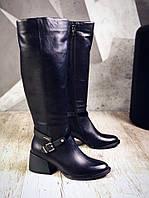 Шикарные кожаные сапоги на низком ходу 39 р чёрный, фото 1
