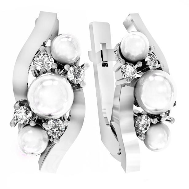 Серьги серебряные  Pearl Orion 112 035