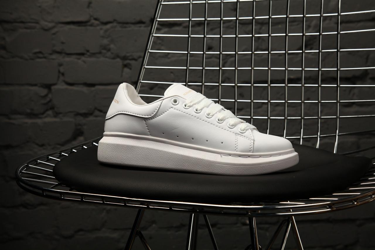 Женские кроссовки Alexander McQueen Full White. Кожа