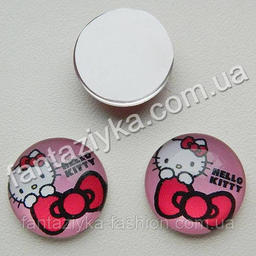 Круглая серединка Hello Kitty 20мм ярко-розовая
