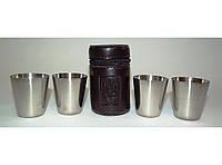 ST3-54 Стопки з нержавіючої сталі 4 шт. (чорний шкіряний чохол) Об'єм: 50 мл