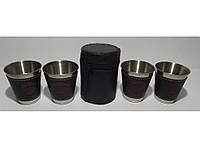 ST3-35 Стопки з нержавіючої сталі 4 шт. (чорний шкіряний чохол) (середні) Об'єм: 100 мл