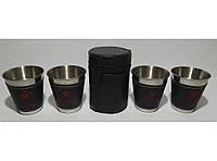 ST3-34 Стопки з нержавіючої сталі 4 шт. (чорний шкіряний чохол) (середні) Об'єм: 100 мл