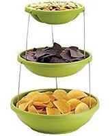 Миска трехуровневая для вечеринок twist fold 3 tiered bowl, фото 1