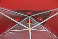 Квадратный зонт для отдыха или торговли с серебряным напылением и ветровым клапаном, размер 300 Х 400 см.