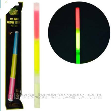 Игрушка светящаяся палочка трехцветная НЕОН  30см 2303