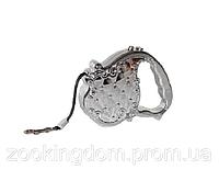 Поводок-рулетка гламур FD801-B, лента (3м*20кг) серебро