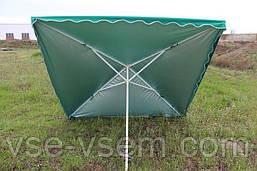 Квадратный зонт для отдыха или торговли с серебряным напылением, размер 200 Х 300 см.