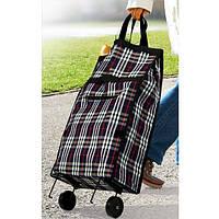 Складная хозяйственная сумка на колесиках. Расцветка - цветы., фото 1